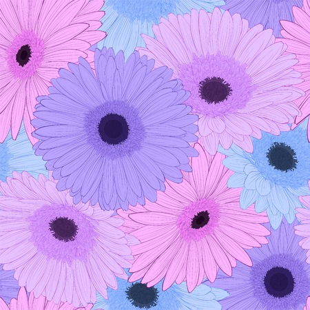 Beautiful background with gerbera flower . Hand-drawn contour lines and strokes. Vector