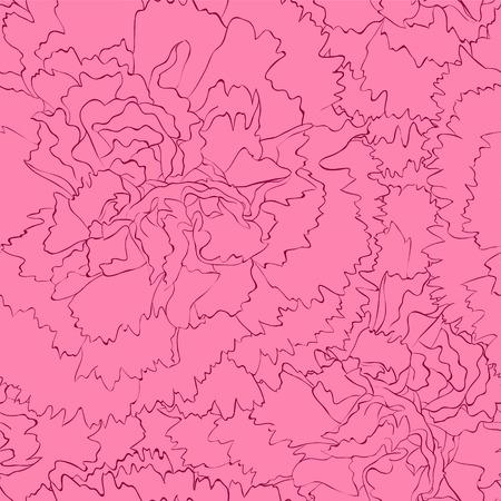 ピンクのカーネーションを持つ美しいシームレスな背景。手で描かれた輪郭線とストローク。