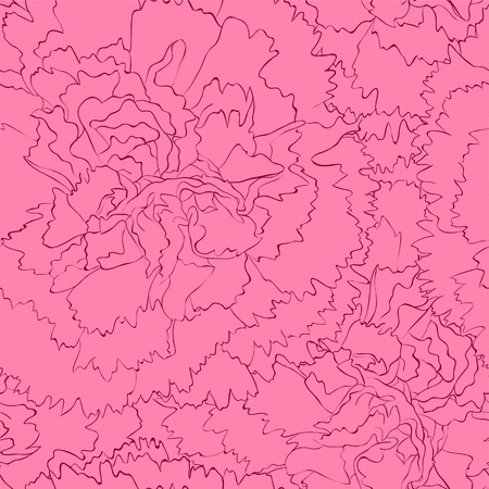 pink flower: Beautiful seamless background with pink carnation. Hand-drawn contour lines and strokes.