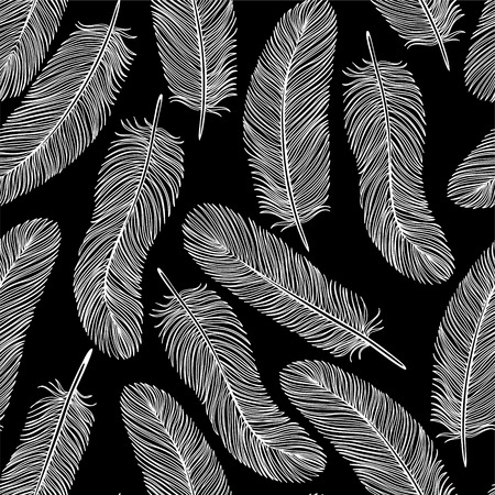 black-and-white Feather seamless background.