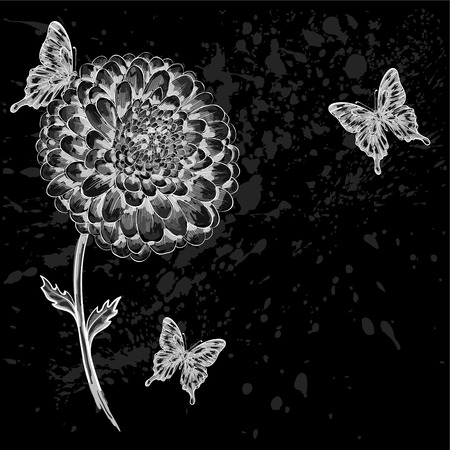 beautiful black-and-white flower with butterflies. Hand-drawn contour lines and strokes. Vector