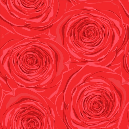 Beautiful seamless background with red roses  Hand-drawn with effect of drawing in watercolor Vector