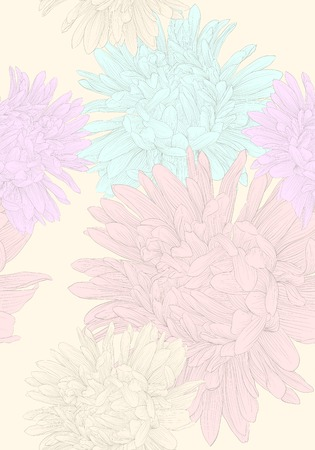 Beautiful seamless background with flowers  Hand-drawn contour lines and strokes  Vector