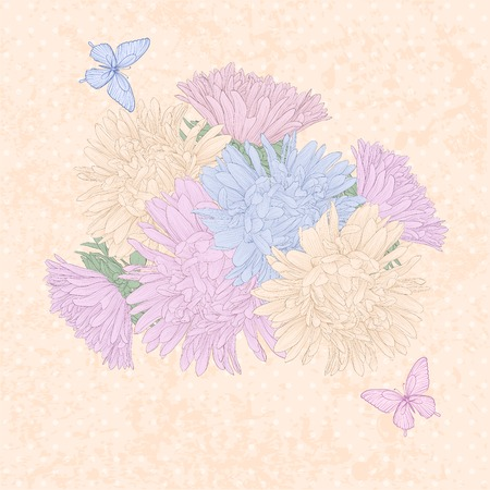 Beautiful background with bouquet flowers and butterflies  Hand-drawn contour lines and strokes  Vector