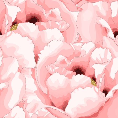 Beautiful seamless background with pink flowers  Hand-drawn with effect of drawing in watercolor Vector