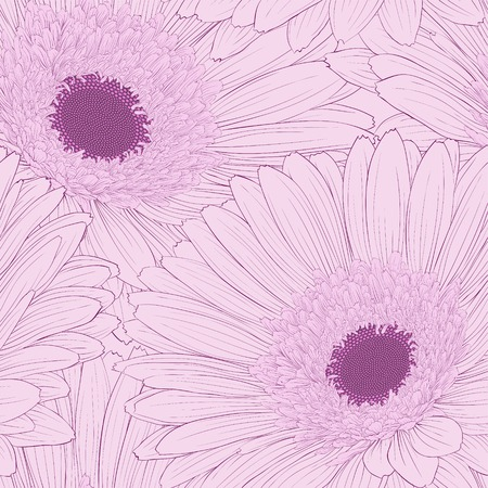 Beautiful background with gerbera flower   Hand-drawn contour lines and strokes  Vector