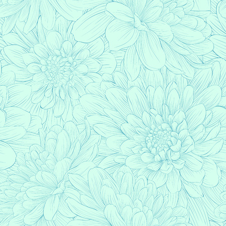 Beautiful seamless pattern with blue dahlia flowers  Hand-drawn contour and strokes