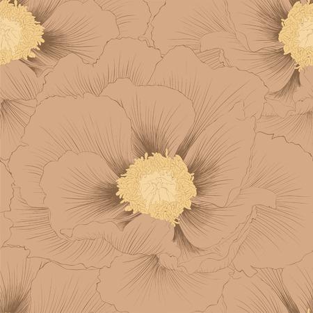 peony tree: Bellissimo sfondo senza soluzione di continuit� con i fiori della pianta Paeonia arborea Albero peonia linee di contorno e tratti disegnati a mano