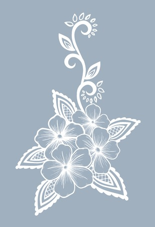 Beautiful floral element  Black-and-white flowers and leaves design element  Floral design element in retro style  Vector