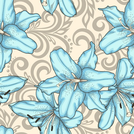 abstract flowers: Beautiful seamless pattern with blue lilies flowers and abstract floral swirls Illustration