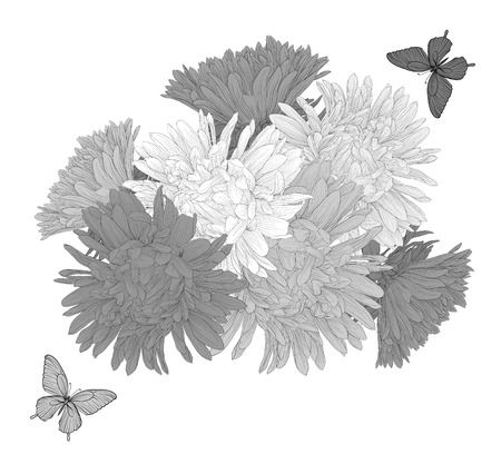 aster: Beautiful monochrome black and white  background with bouquet flowers and butterflies. Hand-drawn contour lines and strokes.