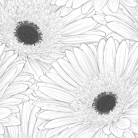 Beautiful monochrome black and white  seamless background with flowers. Hand-drawn contour lines and strokes. Vector