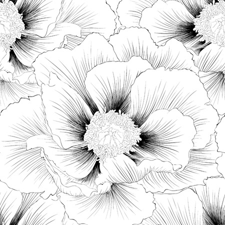 flower sketch: Beautiful monochrome black and white  seamless background with flowers. Hand-drawn contour lines and strokes.