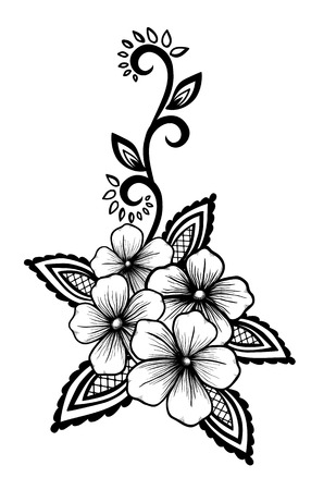 textured: Beautiful floral element. Black-and-white flowers and leaves design element. Floral design element in retro style.
