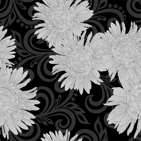 aster: Beautiful monochrome black and white seamless pattern with aster flowers and abstract floral swirls Illustration