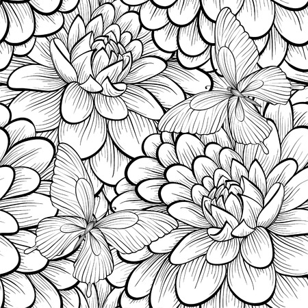 Beautiful monochrome, black and white seamless background with flowers dahlia. Hand-drawn contour lines and strokes. Vector
