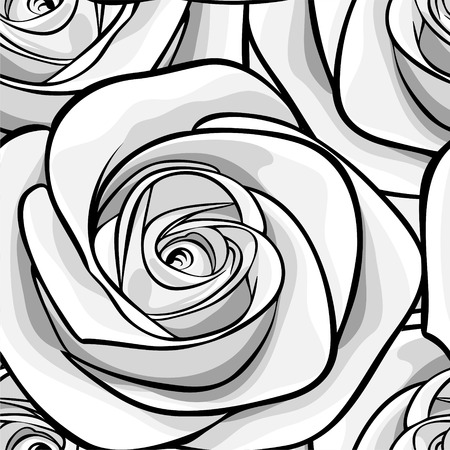 Beautiful monochrome, black and white seamless background with roses. Hand-drawn with effect of drawing in watercolor Çizim