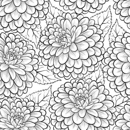 Beautiful monochrome, black and white seamless background with flowers dahlia. Hand-drawn contour lines and strokes. Ilustração