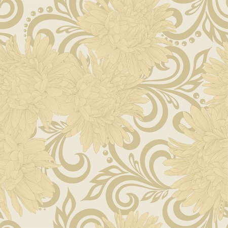 aster: Beautiful seamless pattern with aster flowers and abstract floral swirls