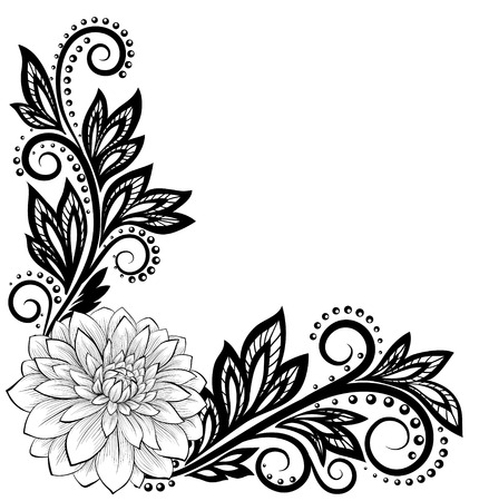 beautiful monochrome black and white lace flower in the corner. With space for your text and greetings.