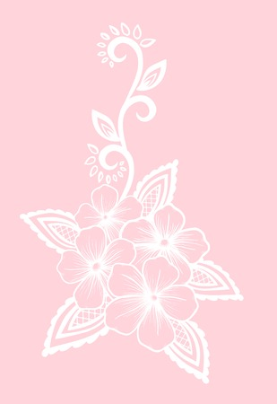 Beautiful floral element. white flowers and leaves design element. Floral design element in retro style. Vector