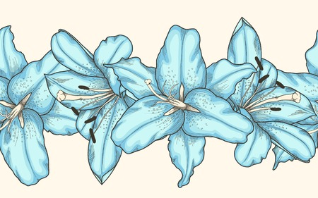 Beautiful seamless horizontal frame element of blue lilies flowers . Hand-drawn contour lines and strokes. Illustration