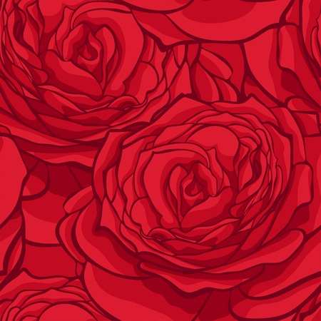 beautiful seamless pattern in red roses with contours. Hand-drawn contour lines and strokes. Perfect for background greeting cards and invitations to the day of the wedding, birthday, Valentines Day Vector