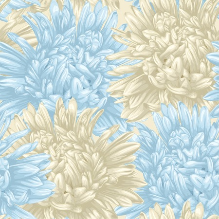 aster: Beautiful seamless background with beige and blue aster. Hand-drawn with effect of drawing in watercolor Illustration
