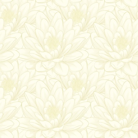 Beautiful seamless pattern with lotus flowers. Hand-drawn contour lines and strokes.