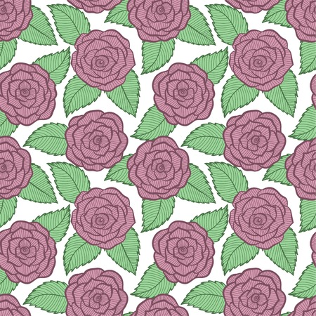 beautiful seamless pattern in roses and leaves lace. Hand-drawn contour lines and strokes. Perfect for background greeting cards and invitations of the wedding, birthday, Valentine Vector