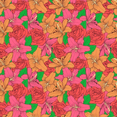 Beautiful seamless background with pink lily and roses . Hand-drawn contour lines and strokes.  Vector