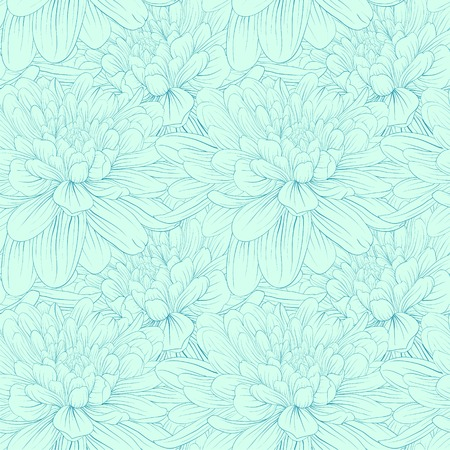 vintage texture: Beautiful seamless pattern with blue dahlia flowers. Hand-drawn contour and strokes.