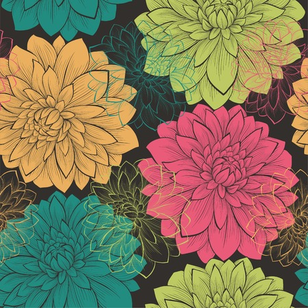 Beautiful seamless background with flowers. Hand-drawn contour lines and strokes. Vector
