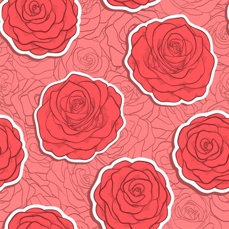 beautiful seamless pattern in red roses with contours. Hand-drawn contour lines and strokes. Vector