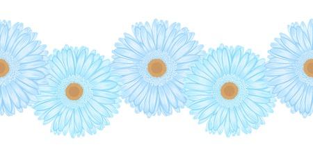 Beautiful seamless horizontal frame element of gerbera flower Vector