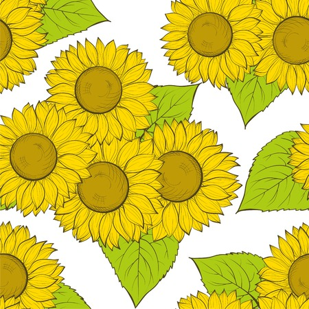 sunflower drawing: beautiful seamless background with sunflowers. Hand-drawn contour lines and strokes