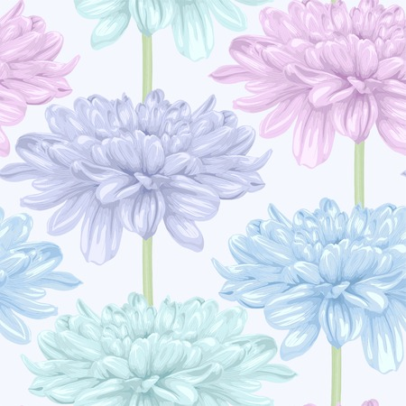 Beautiful seamless background with dahlia. Hand-drawn with effect of drawing in watercolor Vector