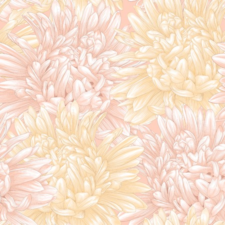 aster: Beautiful seamless background with aster. Hand-drawn with effect of drawing in watercolor Illustration