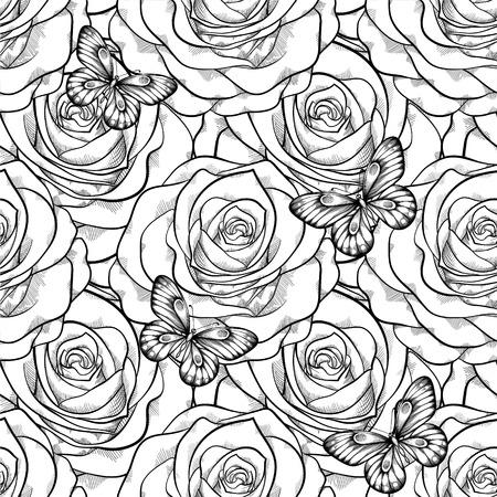 tattoo butterfly: bello in bianco e nero seamless in rose con contorni. Curve di livello e tratti disegnati a mano. Perfetto per lo sfondo biglietti di auguri e inviti di nozze, compleanno, San Valentino