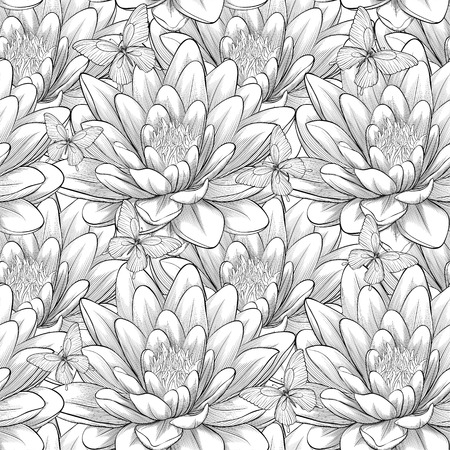 hand outline: Beautiful monochrome, black and white seamless pattern with lotus flowers. Hand-drawn contour lines and strokes. Perfect for background greeting cards and invitations of the wedding, birthday