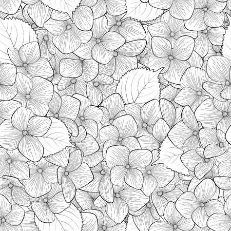 Mooie naadloze achtergrond met zwart wit, zwart en witte bloemen. Handgetekende contourlijnen en beroertes. Perfect voor achtergrond wenskaarten en uitnodigingen voor de dag van de bruiloft, verjaardag