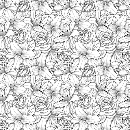 Beautiful seamless background with black and white lily and roses . Hand-drawn contour lines and strokes. Perfect background greeting card and invitations to the day wedding, birthday, Valentines Day