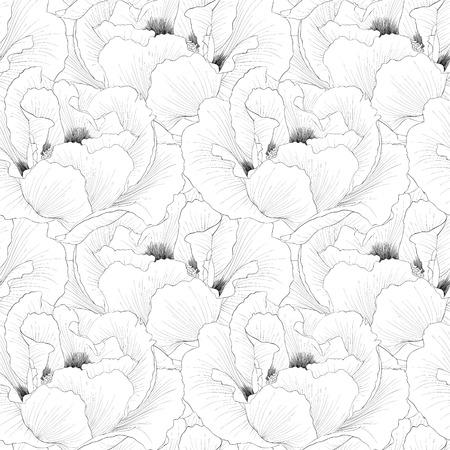 peony black: Beautiful monochrome, black and white seamless background with flowers Plant Paeonia arborea (Tree peony). Hand-drawn contour lines and strokes.