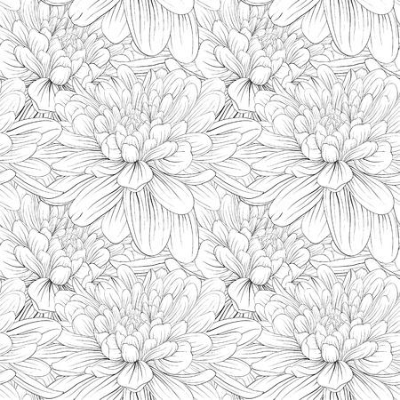 Beautiful monochrome, black and white seamless background with flowers dahlia. Hand-drawn contour lines and strokes. Illusztráció