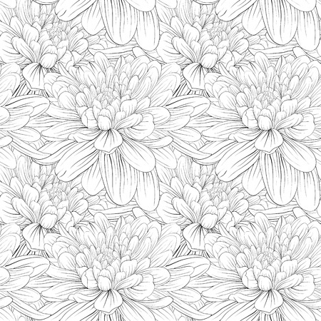 Beautiful monochrome, black and white seamless background with flowers dahlia. Hand-drawn contour lines and strokes. Vettoriali