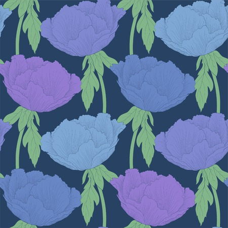 aster: Beautiful seamless background with flowers Plant Paeonia arborea (Tree peony) with stem and leaves. Hand-drawn contour lines and strokes. Illustration