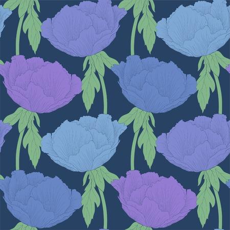 peony tree: Bellissimo sfondo trasparente con fiori piante Paeonia arborea (Albero peonia) con stelo e foglie. Curve di livello e tratti disegnati a mano.