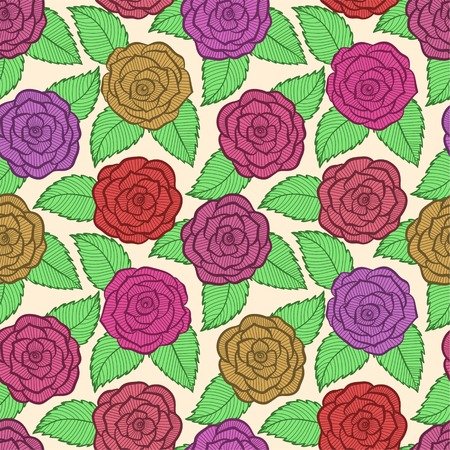 beautiful seamless pattern in roses and leaves lace. Hand-drawn contour lines and strokes. Perfect for background greeting cards and invitations of the wedding, birthday, Valentines Day Vector