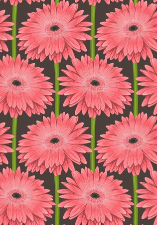 Beautiful seamless background with pink gerbera flower with a stem. Hand-drawn with effect of drawing in watercolor Vector