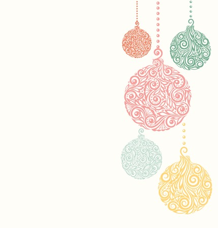 christmas  ornament: beautiful Christmas background with Christmas balls Hanging . Great for greeting cards Illustration